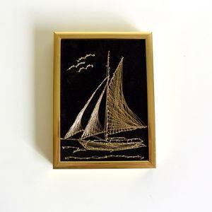 Black Velvet Sailboat Embroidered Wall Art